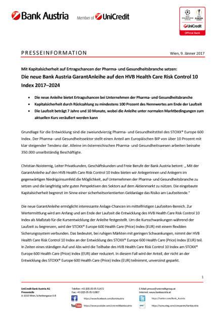Die neue Bank Austria GarantAnleihe auf den HVB Health Care Risk Control 10, Seite 1/3, komplettes Dokument unter http://boerse-social.com/static/uploads/file_2048_die_neue_bank_austria_garantanleihe_auf_den_hvb_health_care_risk_control_10.pdf (09.01.2017)
