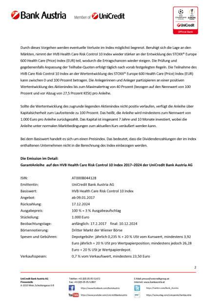Die neue Bank Austria GarantAnleihe auf den HVB Health Care Risk Control 10, Seite 2/3, komplettes Dokument unter http://boerse-social.com/static/uploads/file_2048_die_neue_bank_austria_garantanleihe_auf_den_hvb_health_care_risk_control_10.pdf (09.01.2017)