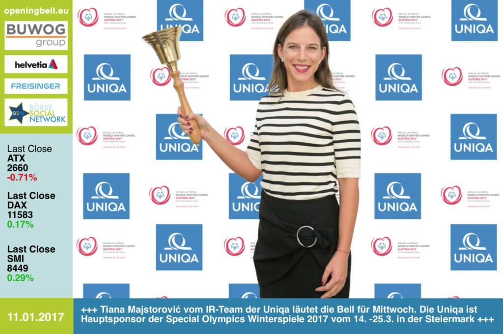 #openingbell am 11.1.: Tiana Majstorović vom IR-Team der Uniqa läutet die Bell für Mittwoch. Die Uniqa ist Hauptsponsor der Special Olympics Winterspiele 2017 vom 14. -25.3. in der Steiermark http://www.uniqa.at http://www.specialolympics.at/sowwg-2017.html https://www.facebook.com/groups/GeldanlageNetwork/ https://www.facebook.com/groups/Sportsblogged  (11.01.2017)