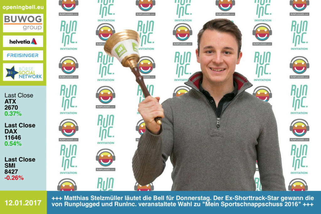 #openingbell am 12.1.: Matthias Stelzmüller läutet die Opening Bell für Donnerstag. Der Ex-Shorttrack-Star gewann die von Runplugged und RunInc. veranstaltete Wahl zu Mein Sportschnappschuss 2016, siehe alle Nominierten und die Sieger unter http://photaq.com/page/index/2910 https://www.facebook.com/groups/Sportsblogged http://www.runplugged.com http://www.runinc.at http://dailysports.at (12.01.2017)