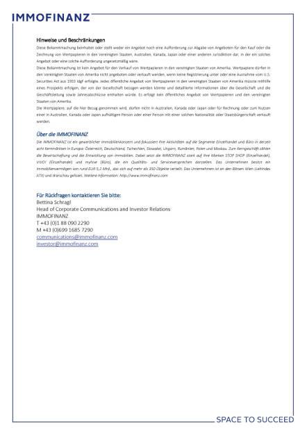 Immofinanz mit erfolgreichem Pricing für einen 300-Millionen-Euro Wandelschuldverschreibung, Seite 2/2, komplettes Dokument unter http://boerse-social.com/static/uploads/file_2055_immofinanz_mit_erfolgreichem_pricing_fur_einen_300-millionen-euro_wandelschuldverschreibung.pdf (13.01.2017)
