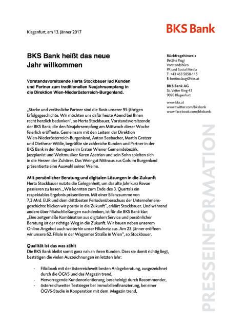 BKS Bank Neujahrsempfang, Seite 1/2, komplettes Dokument unter http://boerse-social.com/static/uploads/file_2058_bks_bank_neujahrsempfang.pdf (13.01.2017)