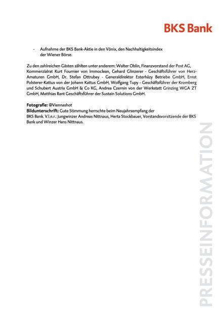 BKS Bank Neujahrsempfang, Seite 2/2, komplettes Dokument unter http://boerse-social.com/static/uploads/file_2058_bks_bank_neujahrsempfang.pdf (13.01.2017)