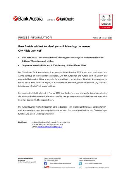 """Bank Austria eröffnet Kundenfoyer und Safeanlage der neuen City-Filiale """"Am Hof"""", Seite 1/1, komplettes Dokument unter http://boerse-social.com/static/uploads/file_2059_bank_austria_eröffnet_kundenfoyer_und_safeanlage_der_neuen_city-filiale_am_hof.pdf (13.01.2017)"""