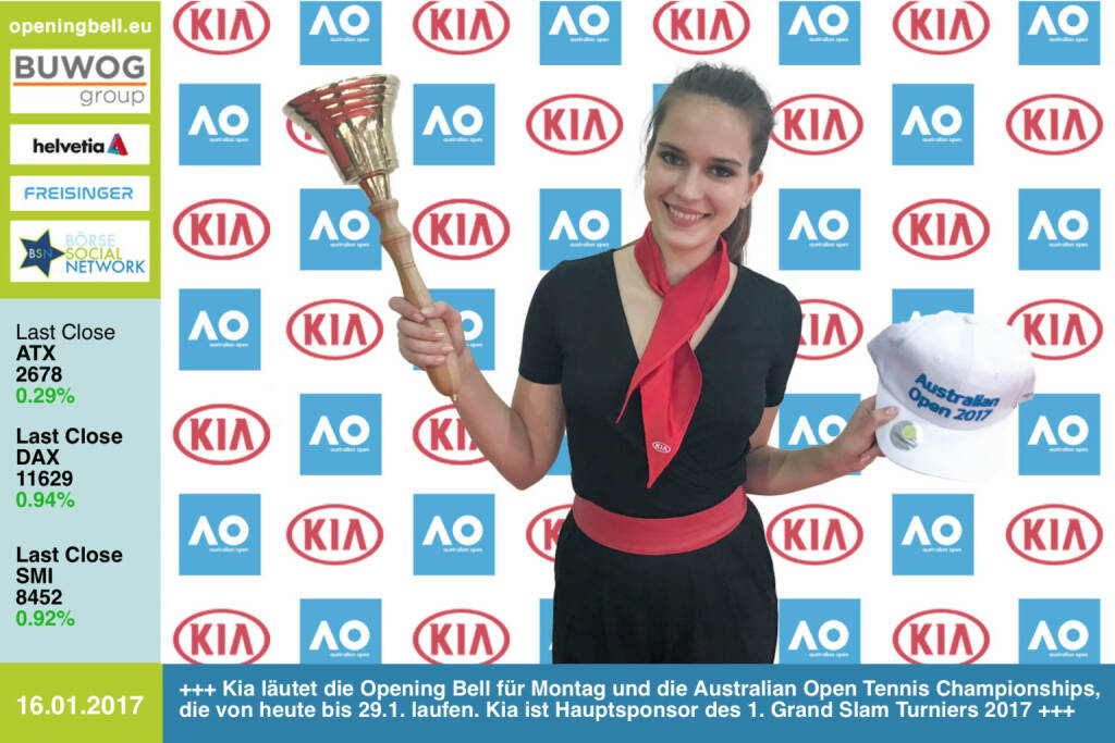 #openingbell am 16.1.: Kia läutet die Opening Bell für Montag und die Australian Open Tennis Championships, die von heute bis 29.1. laufen. Der Autohersteller ist Hauptsponsor des 1. Grand Slam Turniers 2017 http://www.kia.com/at/ http://www.ausopen.com/ https://www.facebook.com/groups/Sportsblogged  (16.01.2017)