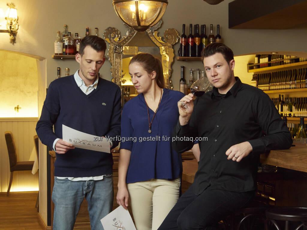 Daniel Kellner, Anna Andert, Benjamin Buxbaum - Zingerle Communications e.U.: BUXBAUM Restaurant – historisches Gewölbe, neuer Küchenchef (Fotocredit: Restaurant BUXBAUM), © Aussendung (24.01.2017)