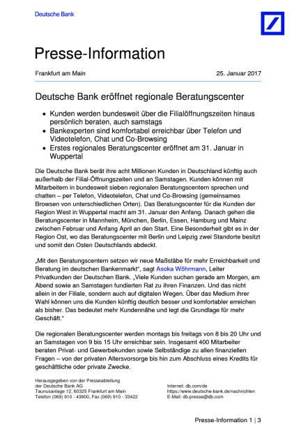 Deutsche Bank eröffnet regionale Beratungscenter, Seite 1/3, komplettes Dokument unter http://boerse-social.com/static/uploads/file_2074_deutsche_bank_eroffnet_regionale_beratungscenter.pdf (25.01.2017)