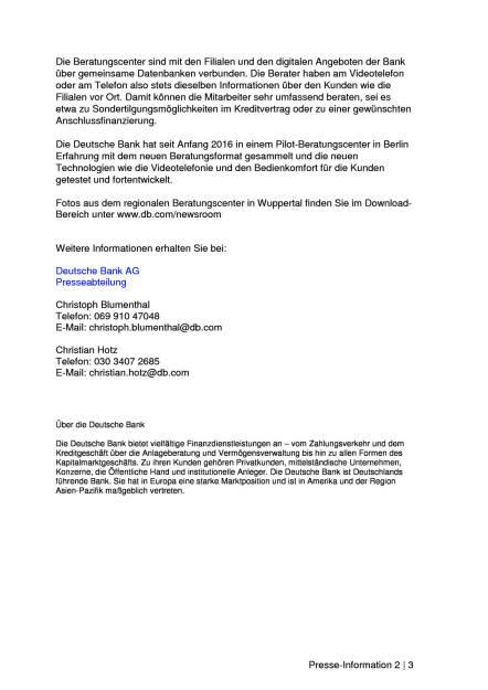Deutsche Bank eröffnet regionale Beratungscenter, Seite 2/3, komplettes Dokument unter http://boerse-social.com/static/uploads/file_2074_deutsche_bank_eroffnet_regionale_beratungscenter.pdf (25.01.2017)