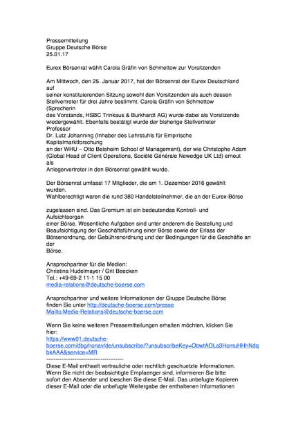 Eurex Börsenrat wählt Carola Gräfin von Schmettow zur Vorsitzenden, Seite 1/2, komplettes Dokument unter http://boerse-social.com/static/uploads/file_2075_eurex_borsenrat_wahlt_carola_grafin_von_schmettow_zur_vorsitzenden.pdf (25.01.2017)