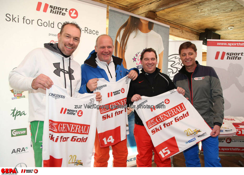 Ski for Gold Charity Race. Image shows Michael Kummerer, Herwig Straka, Christian Scheuch and managing director Harald Bauer (Sporthilfe). Photo: GEPA pictures/ Harald Steiner (26.01.2017)