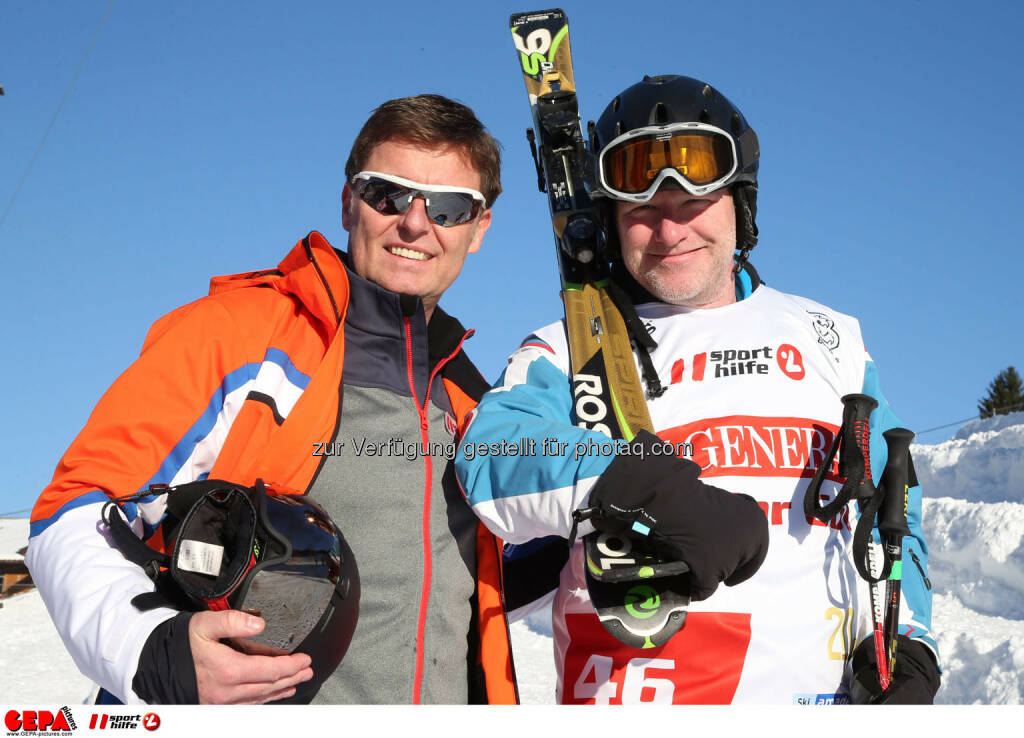 Ski for Gold Charity Race. Image shows managing director Harald Bauer (Sporthilfe) and Christoph Sauermann. Photo: GEPA pictures/ Harald Steiner (26.01.2017)