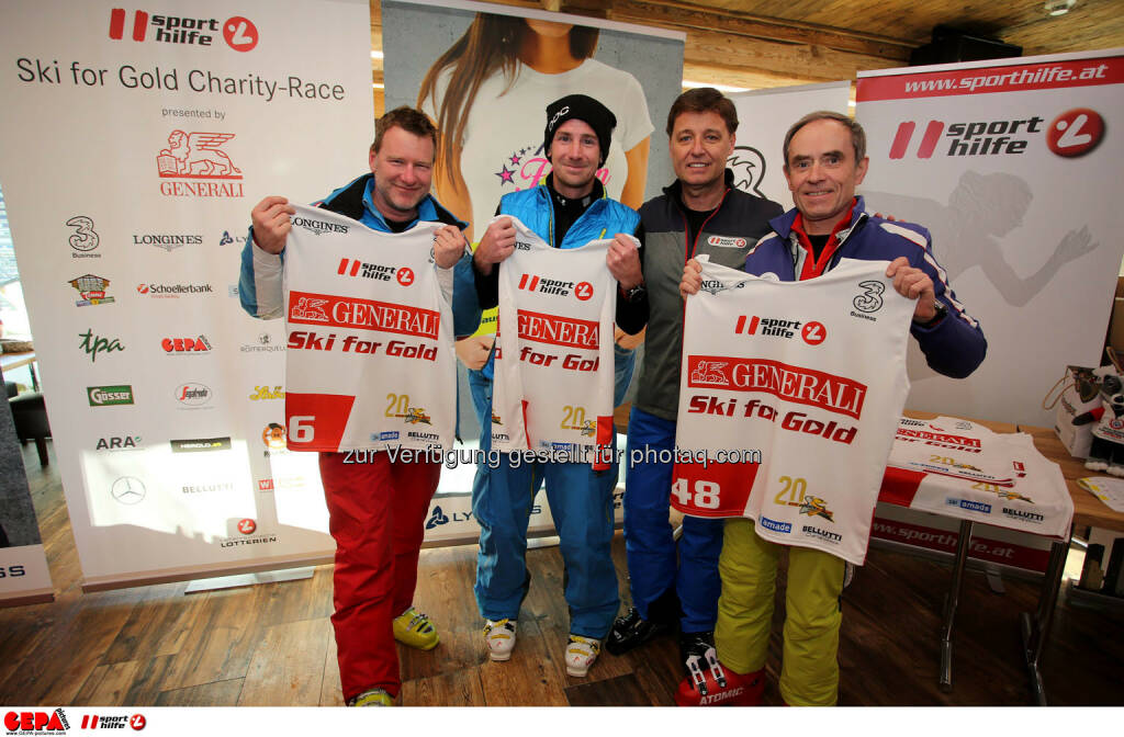 Ski for Gold Charity Race. Image shows Christoph Sauermann, Wolfgang Schreder, managing director Harald Bauer (Sporthilfe) and Karl Obauer. Photo: GEPA pictures/ Daniel Goetzhaber (26.01.2017)