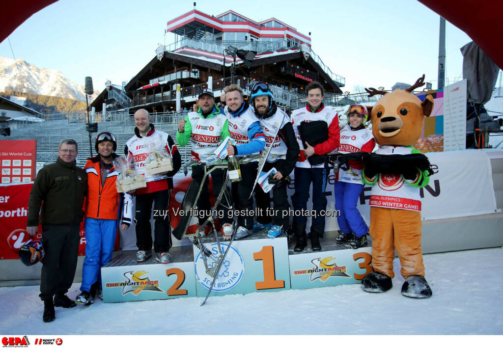 Ski for Gold Charity Race. Image shows managing director Harald Bauer (Sporthilfe), Andy Lee Lang, Gerfried Seeber, Willi Gabalier, Oliver Witvoet, Philipp Hans, Ricarda Huber and maskot Luis. Keywords: Special Olympics World Winter Games, SOWWG Austria 2017 preview. Photo: GEPA pictures/ Daniel Goetzhaber (26.01.2017)