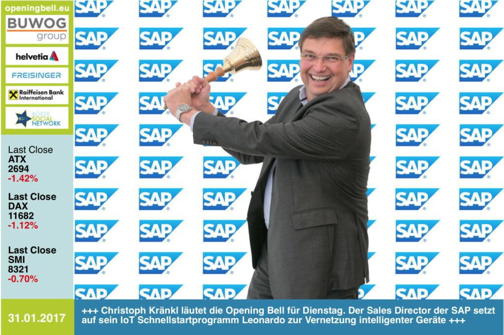 #openingbell am 31.1.: Christoph Kränkl läutet die Opening Bell für Dienstag. Der Sales Director der SAP setzt auf sein IoT Schnellstartprogramm Leonardo zur Vernetzung intelligenter Geräte http://www.sap.com/ https://www.facebook.com/groups/GeldanlageNetwork/ (31.01.2017)