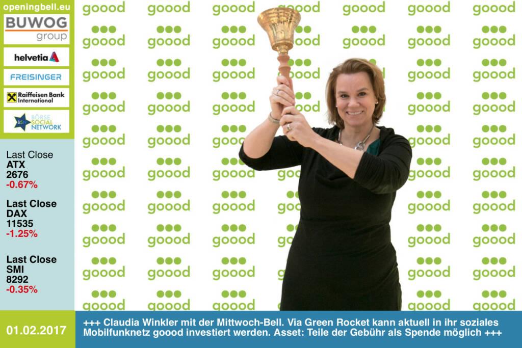 #openingbell am 1.2.: Claudia Winkler läutet die Opening Bell für Mittwoch. Via Green Rocket kann aktuell in ihr soziales Mobilfunknetz goood investiert werden. Asset: Teile der Gebühr als Spende möglich www.goood.de/facebook.com/gooodmobile https://www.greenrocket.com/goood https://www.facebook.com/groups/GeldanlageNetwork/ (01.02.2017)