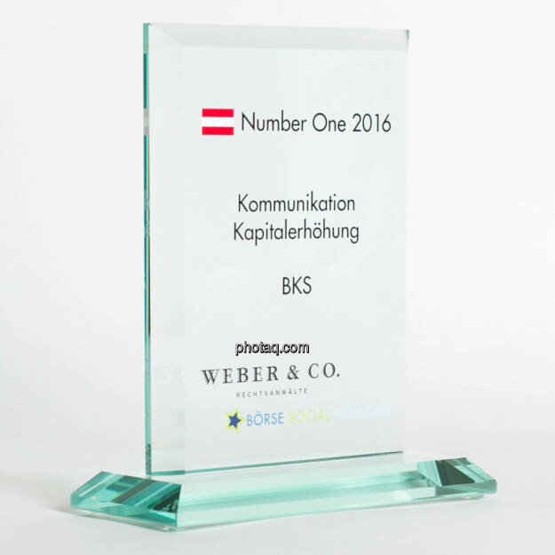 Number One Awards 2016 - Kommunikation Kapitalerhöhung BKS, © photaq/Martina Draper (13.02.2017)