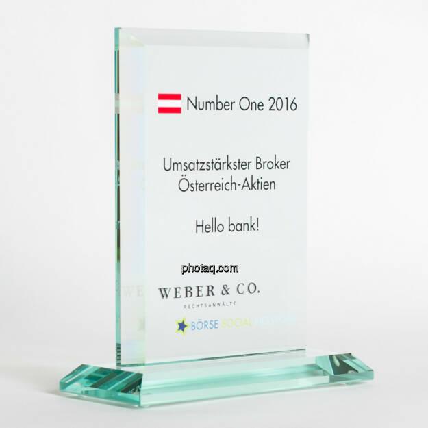 Number One Awards 2016 - Umsatzstärkster Broker Österreich-Aktien Hello bank!, © photaq/Martina Draper (13.02.2017)