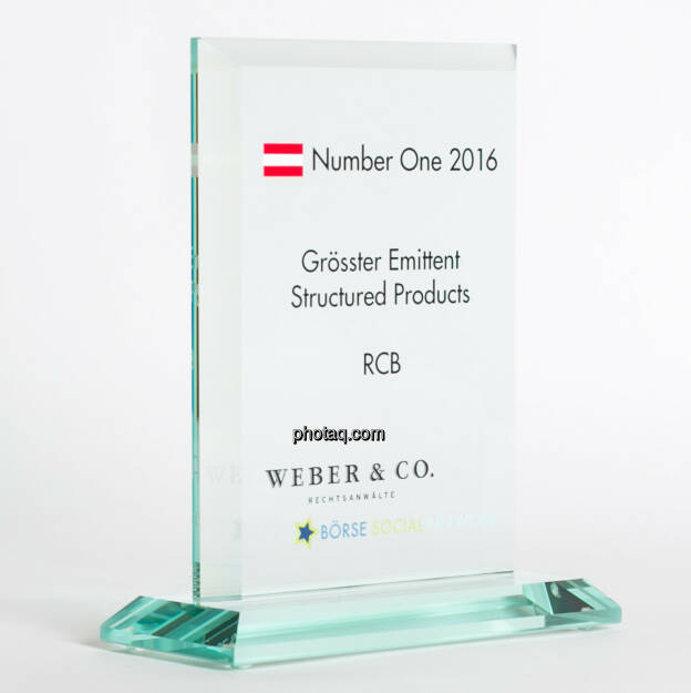 Number One Awards 2016 - Grösster Emittent Structured Products RCB, © photaq/Martina Draper (13.02.2017)