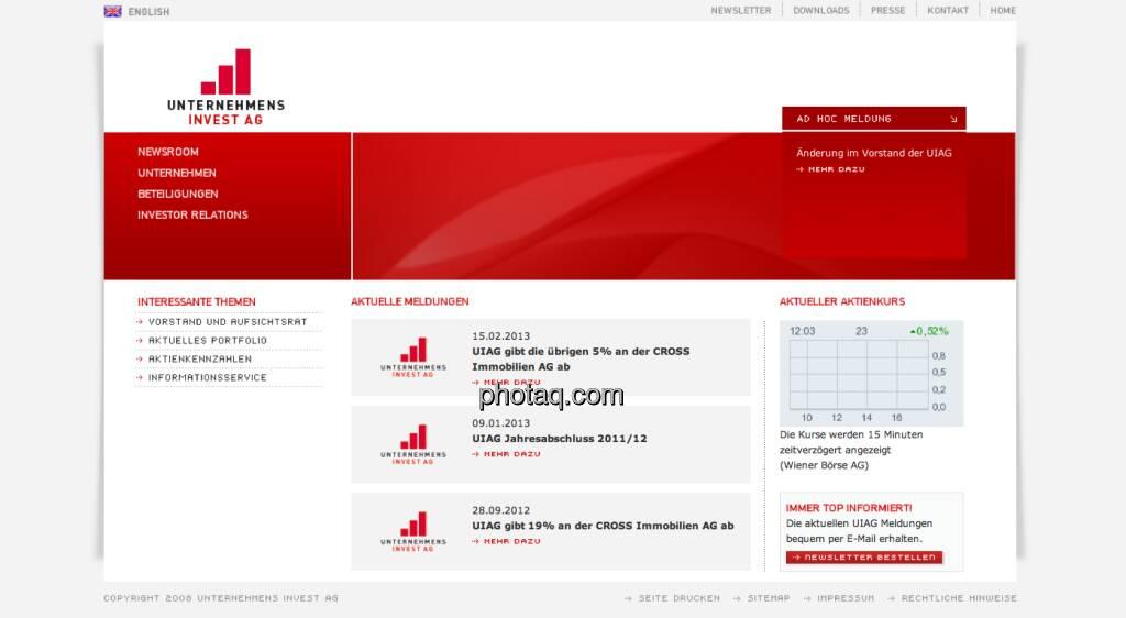 Die UIAG-Aktie startete am 11. Mai 1992 an der Wiener Börse (11.05.2013)
