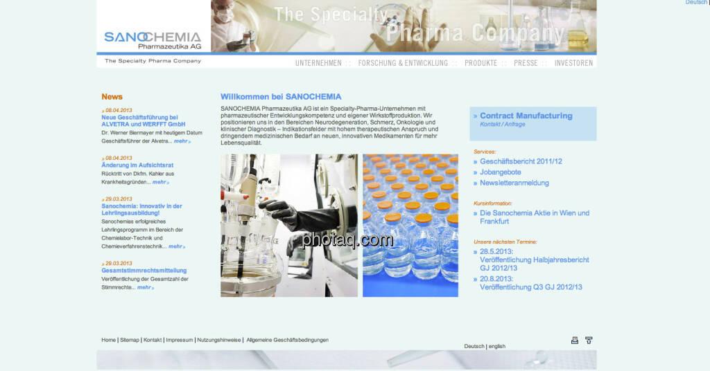 Die Sanochemia-Aktie startete am 12. Mai 1999 an der Frankfurter Börse (12.05.2013)