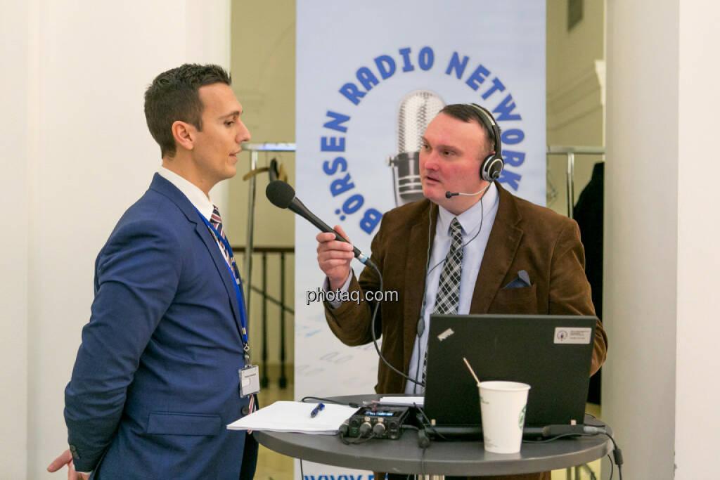 Nikolaos Antonakakis (Webster University Vienna), Peter Heinrich (Börsenradio), © Martina Draper/photaq (16.02.2017)