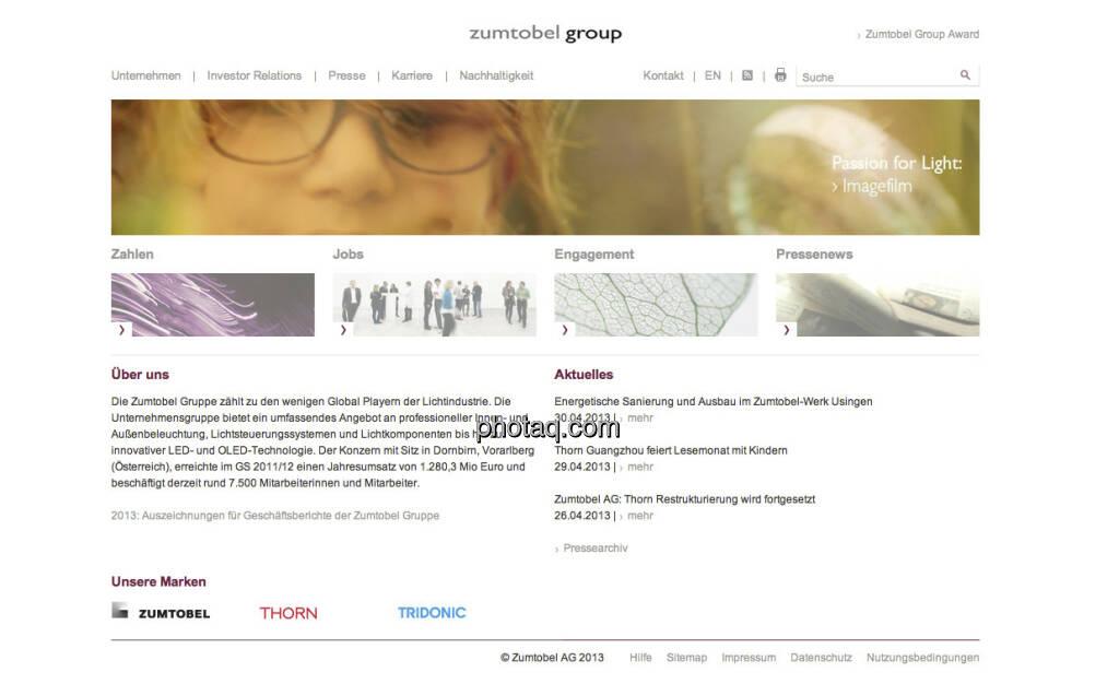 Die Zumtobel-Aktie startete am 12. Mai 2006 an der Wiener Börse (12.05.2013)