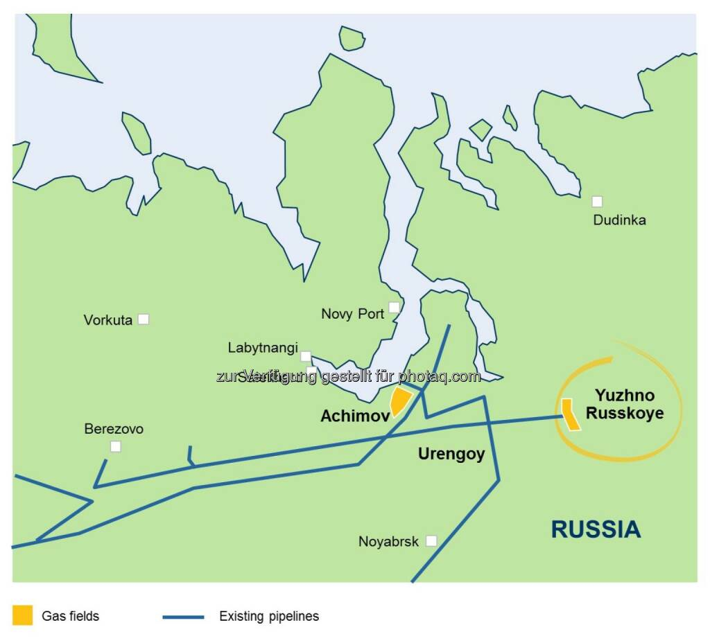 Karte Juschno Russkoje Gasfeld Westsibirien - OMV Aktiengesellschaft: OMV steigt in Upstream-Großprojekt in Russland ein (Fotocredit: OMV), © Aussender (06.03.2017)