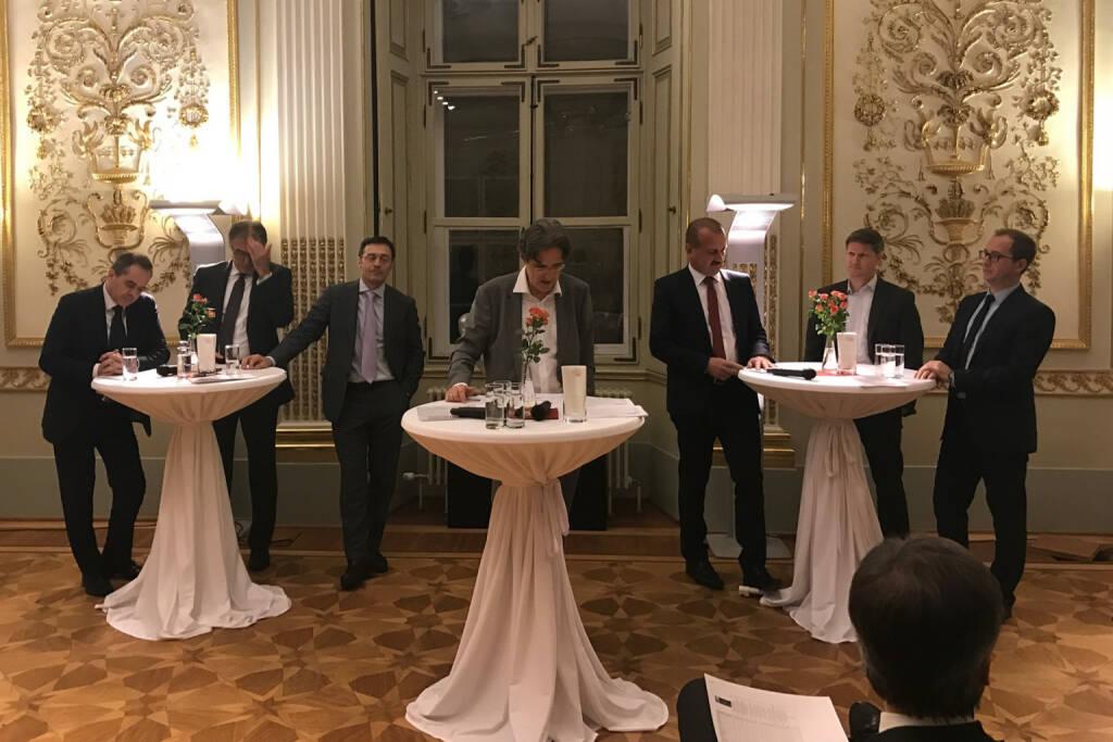 Wolfgang Matejka, Fritz Mostböck, Roland Neuwirth, Martin Kwauka, Alois Wögerbauer, Günther Schmitt, Ernst Tertilt beim Wiener Aktien Award 2017 in der Capital Bank (09.03.2017)