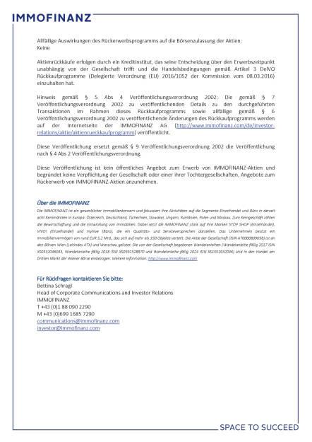 Immofinanz beschließt Aktienrückkaufprogramm 1/2017, Seite 2/2, komplettes Dokument unter http://boerse-social.com/static/uploads/file_2159_immofinanz_beschliesst_aktienruckkaufprogramm_12017.pdf (14.03.2017)