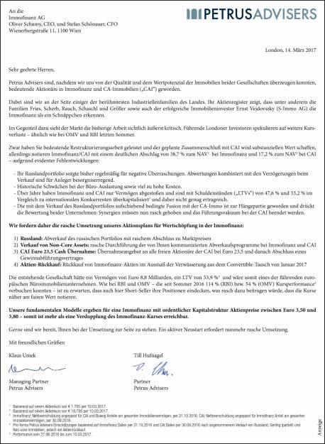 Petrus Advisers - Brief an Immofinanz-Vorstände, Seite 1/1, komplettes Dokument unter http://boerse-social.com/static/uploads/file_2160_petrus_advisers_-_brief_an_immofinanz-vorstande.pdf (14.03.2017)