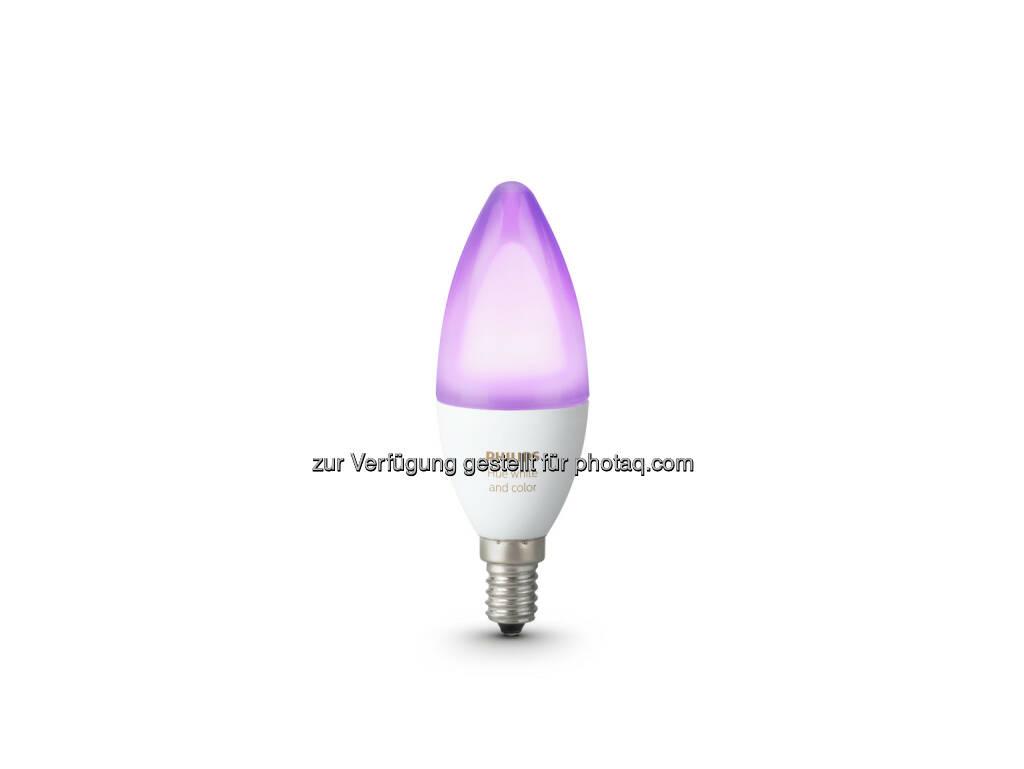 Die Sortimentserweiterung bietet auch gleichzeitig noch sattere Farben. - Philips Lighting Austria GmbH: Smarte Kerzenlichtstimmung: Zwei neue Philips Hue-Lampen mit E14-Fassung ab April erhältlich (Fotocredit: Philips Lighting) (17.03.2017)