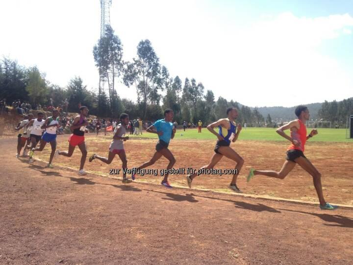laufen, Rennen, track and field, Tartan, Äthiopien, hintereinander, Laufschritt, Gleichschritt