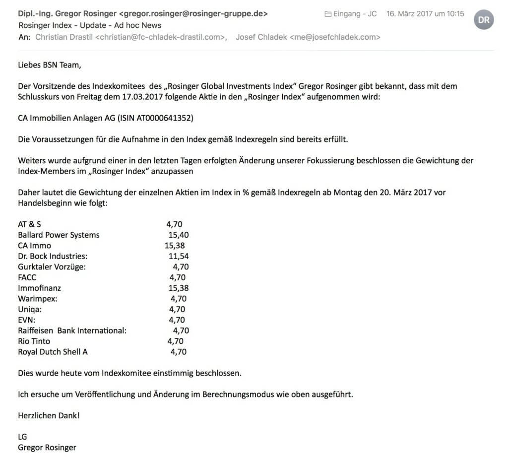Indexevent Rosinger-Index 20: Aufnahme CA Immo per Schlusskurse 17.3.2017 (19.03.2017)