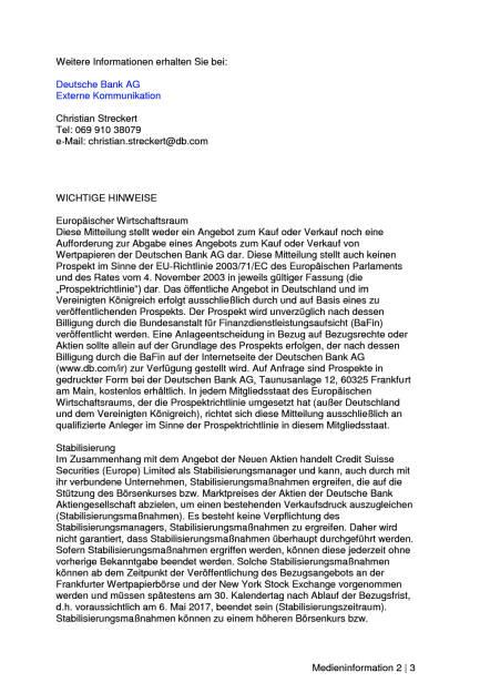 Deutsche Bank legt Emissionsvolumen der Kapitalerhöhung auf 8,0 Milliarden Euro fest, Seite 2/3, komplettes Dokument unter http://boerse-social.com/static/uploads/file_2166_deutsche_bank_legt_emissionsvolumen_der_kapitalerhohung_auf_80_milliarden_euro_fest.pdf (19.03.2017)
