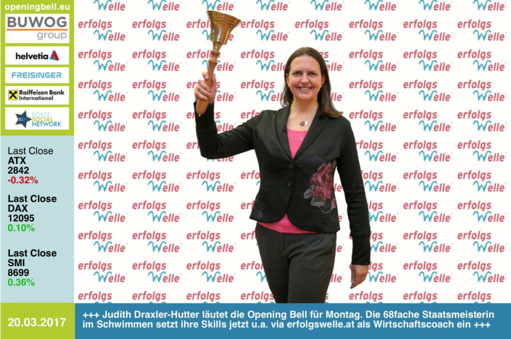 #openingbell am 20.3.: Judith Draxler-Hutter läutet die Opening Bell für Montag. Die 68fache Staatsmeisterin im Schwimmen setzt ihre Skills jetzt u.a. via erfolgswelle.at als Wirtschaftscoach ein http://www.erfolgswelle.at https://www.facebook.com/groups/GeldanlageNetwork/ https://www.facebook.com/groups/Sportsblogged (20.03.2017)