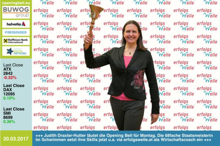 #openingbell am 20.3.: Judith Draxler-Hutter läutet die Opening Bell für Montag. Die 68fache Staatsmeisterin im Schwimmen setzt ihre Skills jetzt u.a. via erfolgswelle.at als Wirtschaftscoach ein http://www.erfolgswelle.at https://www.facebook.com/groups/GeldanlageNetwork/ https://www.facebook.com/groups/Sportsblogged