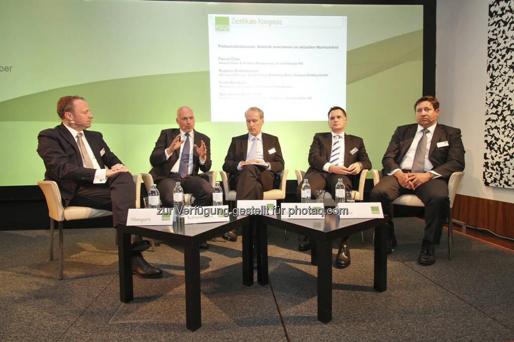 Roundtable: Frank Weingarts (UniCredit), Rupertus Rothenhäuser (Börse Stuttgart), Christian Drastil, Ronald Zilavec (Bankhaus Spängler), Florian Claus (Scoach), © Norbert Novak für das ZFA (14.05.2013)