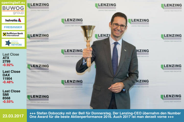 #openingbell am 23.3.:  Stefan Doboczky mit der Opening Bell für Donnerstag. Der Lenzing-CEO übernahm den Number One Award für die beste Aktienperformance 2016. Auch 2017 ist man derzeit vorne http://www.lenzing.com http://boerse-social.com/numberone/2016 http://www.weber.co.at/ https://www.facebook.com/groups/GeldanlageNetwork/
