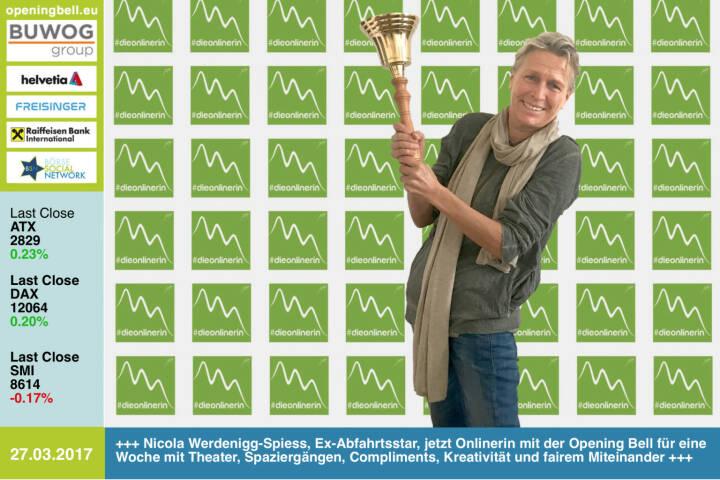 #openingbell am 27.3.: Nicola Werdenigg-Spiess, Ex-Abfahrtsstar (Olympia-Vierte 1976 in Innsbruck), jetzt Onlinerin mit der Opening Bell für eine Woche mit Theater, Spaziergängen, Compliments, Kreativität und fairem Miteinander. http://onlinerin.at https://www.facebook.com/groups/GeldanlageNetwork/ https://www.facebook.com/groups/Sportsblogged