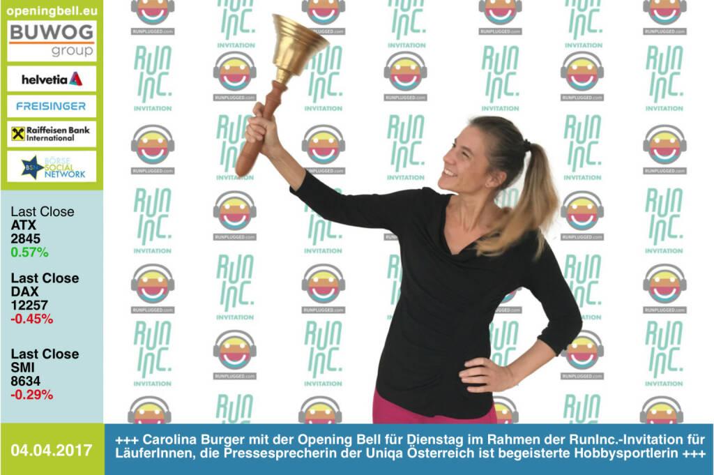 #openingbell am 4.4.: Carolina Burger mit der Opening Bell für Dienstag im Rahmen der RunInc.-Invitation für LäuferInnen, die Pressesprecherin der Uniqa Österreich ist begeisterte Hobbysportlerin http://www.runinc.at http://www.runplugged.com https://www.facebook.com/groups/GeldanlageNetwork/ https://www.facebook.com/groups/Sportsblogged (04.04.2017)