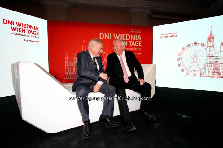 Bürgermeister Prof. Majchrowski und Bürgermeister Dr. Michael Häupl in Krakau - WH Medien GmbH: Wien in Krakau: Innovation und Lebensqualität im Mittelpunkt (Fotograf: fot. Piotr Kedzierski / Fotocredit: Eurocomm-PR)