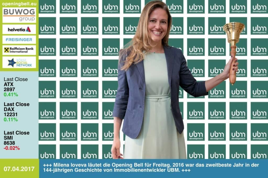 #openingbell am 7.4.: Milena Ioveva läutet die Opening Bell für Freitag. 2016 war das zweitbeste Jahr in der 144-jährigen Geschichte von Immobilienentwickler UBM, mehr dazu unter http://www.ubm.eu/de/news-presse/alle-news/ https://www.facebook.com/groups/GeldanlageNetwork/ (07.04.2017)