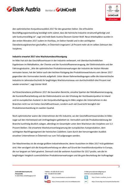 UniCredit Bank Austria Branchenüberblick: Stimmung in Österreichs Branchen klart im Frühjahr 2017 auf, Seite 2/4, komplettes Dokument unter http://boerse-social.com/static/uploads/file_2203_unicredit_bank_austria_branchenuberblick.pdf (11.04.2017)