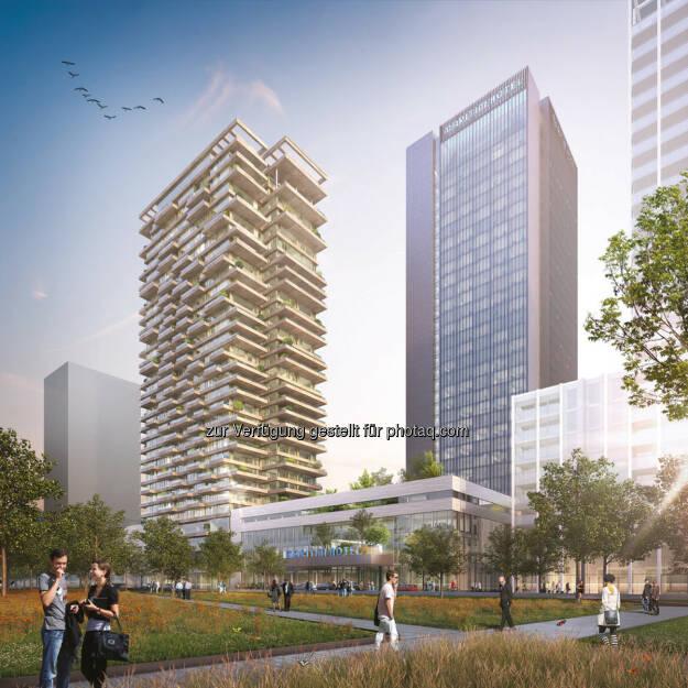 Züblin wurde mit dem Bau eines neuen Hochhausensembles in Amsterdam Noord, Niederlande, an der Uferpromenade des Flusses IJ beauftragt. (Bildnachweis: Team V Architecture/Zwartlicht), © Aussendung (11.04.2017)