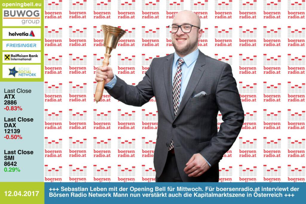#openingbell am 12.4.: Sebastian Leben mit der Opening Bell für Mittwoch. Für boersenradio.at interviewt der Börsen Radio Network Mann nun verstärkt auch die Kapitalmarktszene in Österreich http://www.boersenradio.at mit der Prime-Variante https://www.wienerborse.at/news/boersenradio/ https://www.facebook.com/groups/GeldanlageNetwork/  (12.04.2017)
