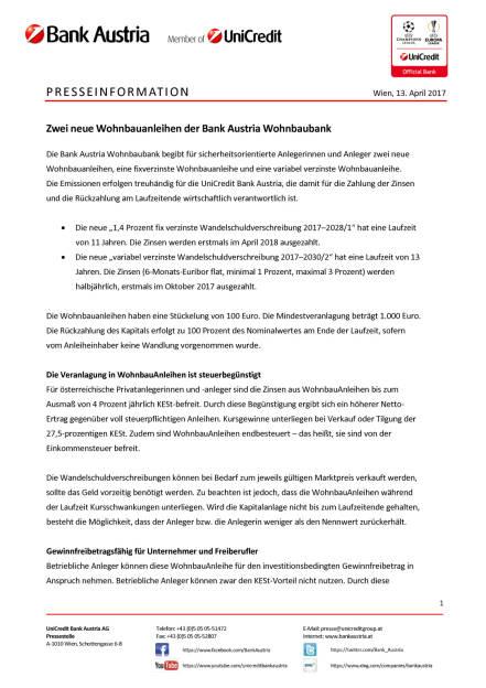 Zwei neue Wohnbauanleihen der Bank Austria Wohnbaubank, Seite 1/5, komplettes Dokument unter http://boerse-social.com/static/uploads/file_2209_zwei_neue_wohnbauanleihen_der_bank_austria_wohnbaubank.pdf (13.04.2017)