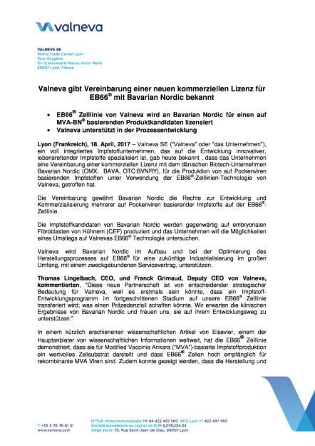 Valneva gibt Vereinbarung einer neuen kommerziellen Lizenz für EB66® mit Bavarian Nordic bekannt, Seite 1/4, komplettes Dokument unter http://boerse-social.com/static/uploads/file_2211_valneva_gibt_vereinbarung_einer_neuen_kommerziellen_lizenz_fur_eb66_bekannt.pdf (18.04.2017)
