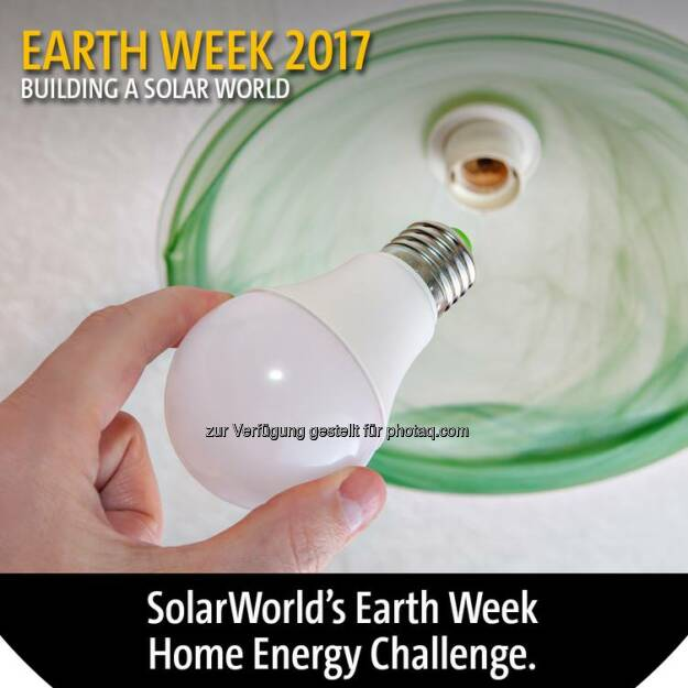 There are many ways you can save energy and conserve resources. #SolarWorld challenges you to share actions that you have taken to save #energy at home. Let us know in the comments your favorite ways to protect resources and be kind to the #planet. #EarthDay #EarthDay2017 #EarthDayEveryDay #GoSolar #EarthWeek #EarthWeek2017  Source: http://facebook.com/SolarWorldUSA, © Aussender (18.04.2017)