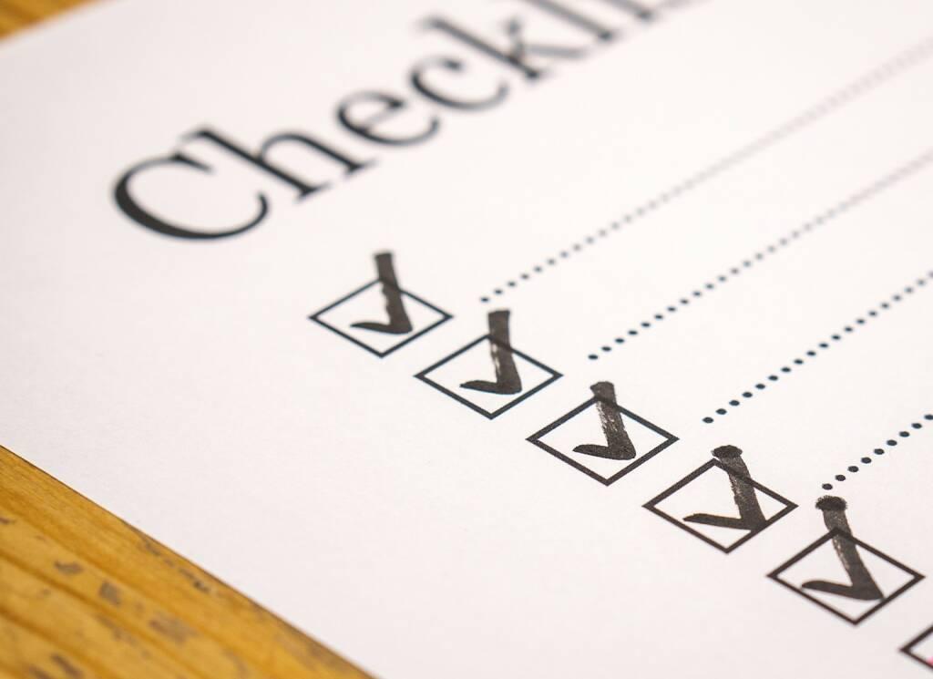 Liste, Check, Checklist, Checkliste, Info, Information, Zettel (Bild: Pixabay/TeroVesalainen https://pixabay.com/de/checkliste-überprüfen-liste-marker-2077018/ ) (21.04.2017)