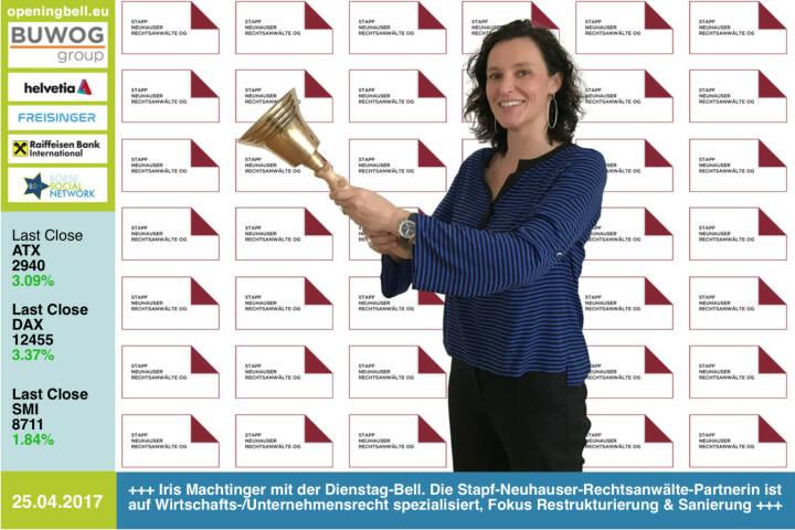#openingbell am 25.4.: Iris Machtinger mit der Opening Bell für Dienstag. Die Stapf-Neuhauser-Rechtsanwälte-Partnerin ist auf Wirtschafts-/Unternehmensrecht spezialisiert, Fokus Restrukturierung & Sanierung http://snwlaw.at  https://www.facebook.com/groups/GeldanlageNetwork/